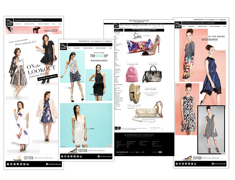 Newsletters and landing pages for luxury retailer
